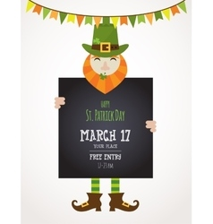 Irish man holding black board happy St Patricks vector