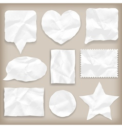 Labels or symbols white crumpled paper vector