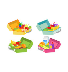 lunch boxes set various ingredients vector image