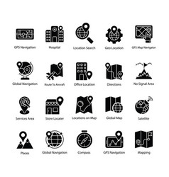 Map and navigation glyph set vector
