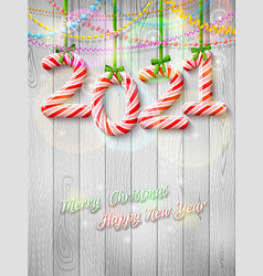 new year 2021 in shape candy stick as vector image