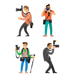 Photographer and paparazzi with digital camera vector