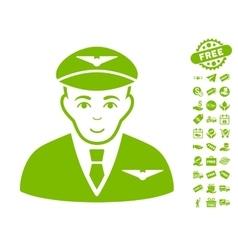 Pilot Icon With Free Bonus vector