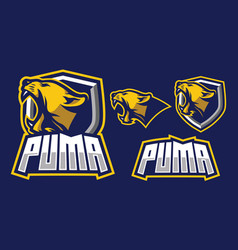 puma mascot log design vector image