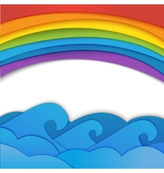 Rainbow background with sea waves vector image