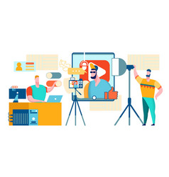 Rapper recording music in studio youtube video vector