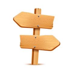 realistic wooden signboard arrow signpost vector image