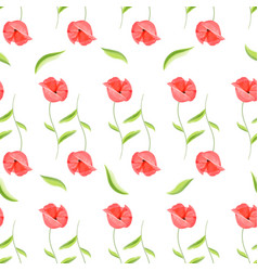 Red poppy flower romantic pattern vector