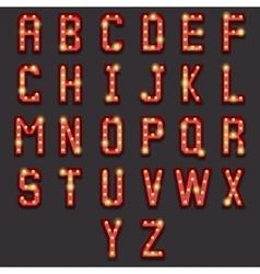 retro lightbulb alphabet vector image