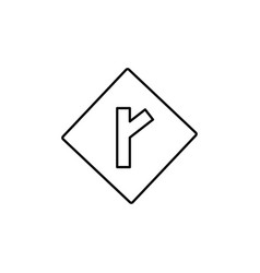 right intersection road sign icon vector image