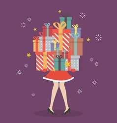 santa woman holding a pile gift boxes vector image