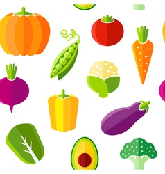 Seamless pattern with fresh organic vegetables vector