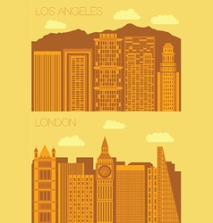 Set 2 flat background city london and los angeles vector