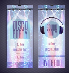 Set disco background banners disco party poster vector