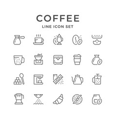 set line icons of coffee vector image