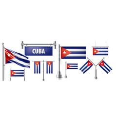 Set national flag cuba in various vector