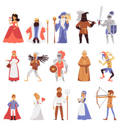 Set noble and citizens medieval town flat vector