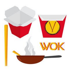 Set of asian and chinese food vector