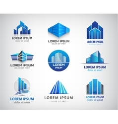 set of blue modern office company vector image