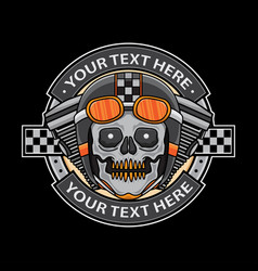 skull motorcycle logo badge vector image
