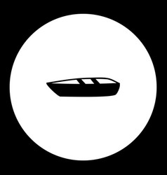 Small boat simple silhouette black icon eps10 vector