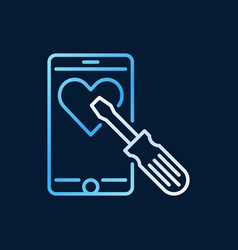 smartphone with screwdriver colored linear vector image