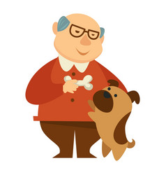 smiling grandpa giving a bone to his small dog vector image