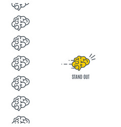 Standing out brain concept vector
