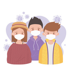 Stay at home group young people with medical mask vector
