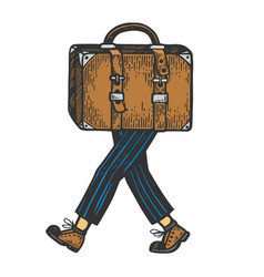 Suitcase bag walks on its feet color sketch vector