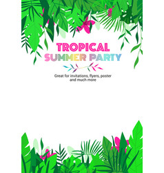 summer party tropical floral poster vector image