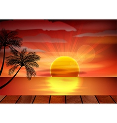 Sunset background on beach with palm tree vector image
