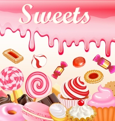 sweet dessert food frame background glaze stains vector image