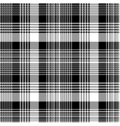 Tartan plaid black white fabric texture seamless vector