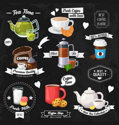 tea and coffe background vector image