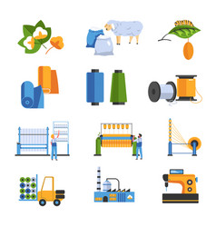 Textile factory isolated icons cotton and wool or vector