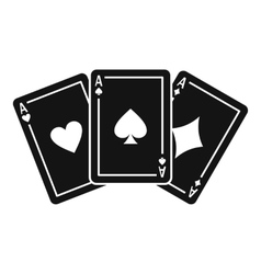 Three aces playing cards icon simple style vector image