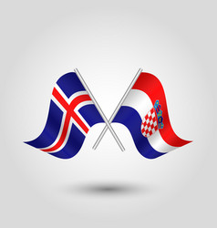 Two crossed icelandic and croatian flags vector