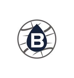 Water oil world letter b vector