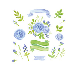 Watercolor blue floral decor set with ribbons vector