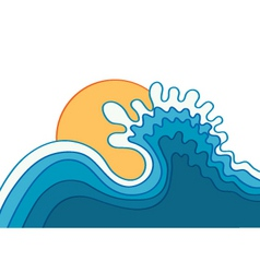 wave in oceanwater background with sunvector vector image