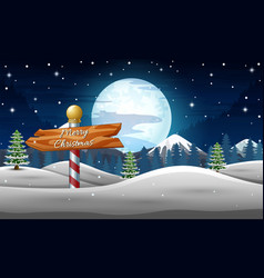 winter holidays landscape with wooden sign at nigh vector image