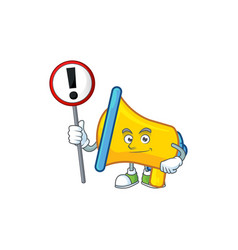 With sign yellow loudspeaker cartoon character for vector