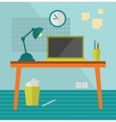 Workplace with moder computer on retro table vector image