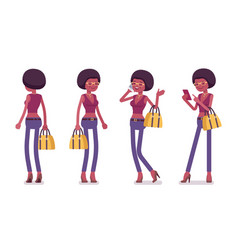 Young black woman standing vector