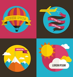 Air balloon sun and airplane backgrounds vector image