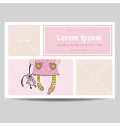 Cute Baby Girl Arrival Card - for Baby Shower vector image vector image