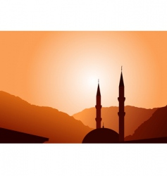 vector mosque silhouette at sunset vector image vector image