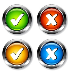 chrome checkmarks buttons vector image vector image
