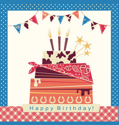 cowboy party card with happy birthday big cake vector image vector image
